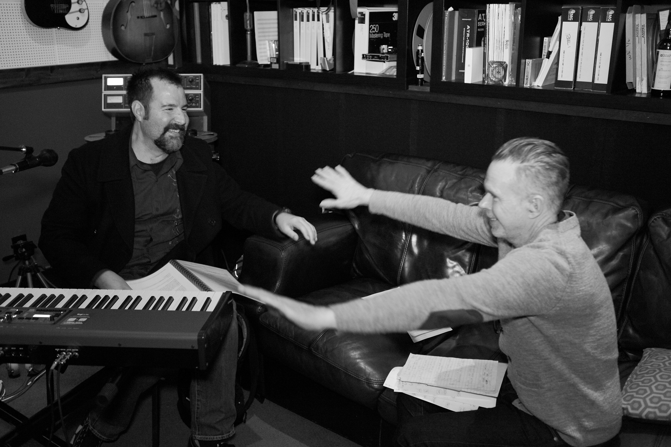 """David Willersdorf and Rick Price in the Sputnik Sound studios of East Nashville during the recording of David's """"Fire This Love"""" album. [Photo Credit: Price Harrison]"""