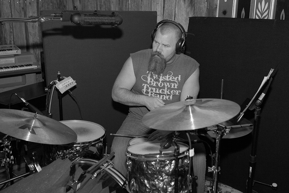 Drummer and Percussionist Chris Powell during the recording of David Willersdorf's 'Fire This Love' album in Sputnik Sounds studios in East Nashville [Photo Credit: Price Harrison]