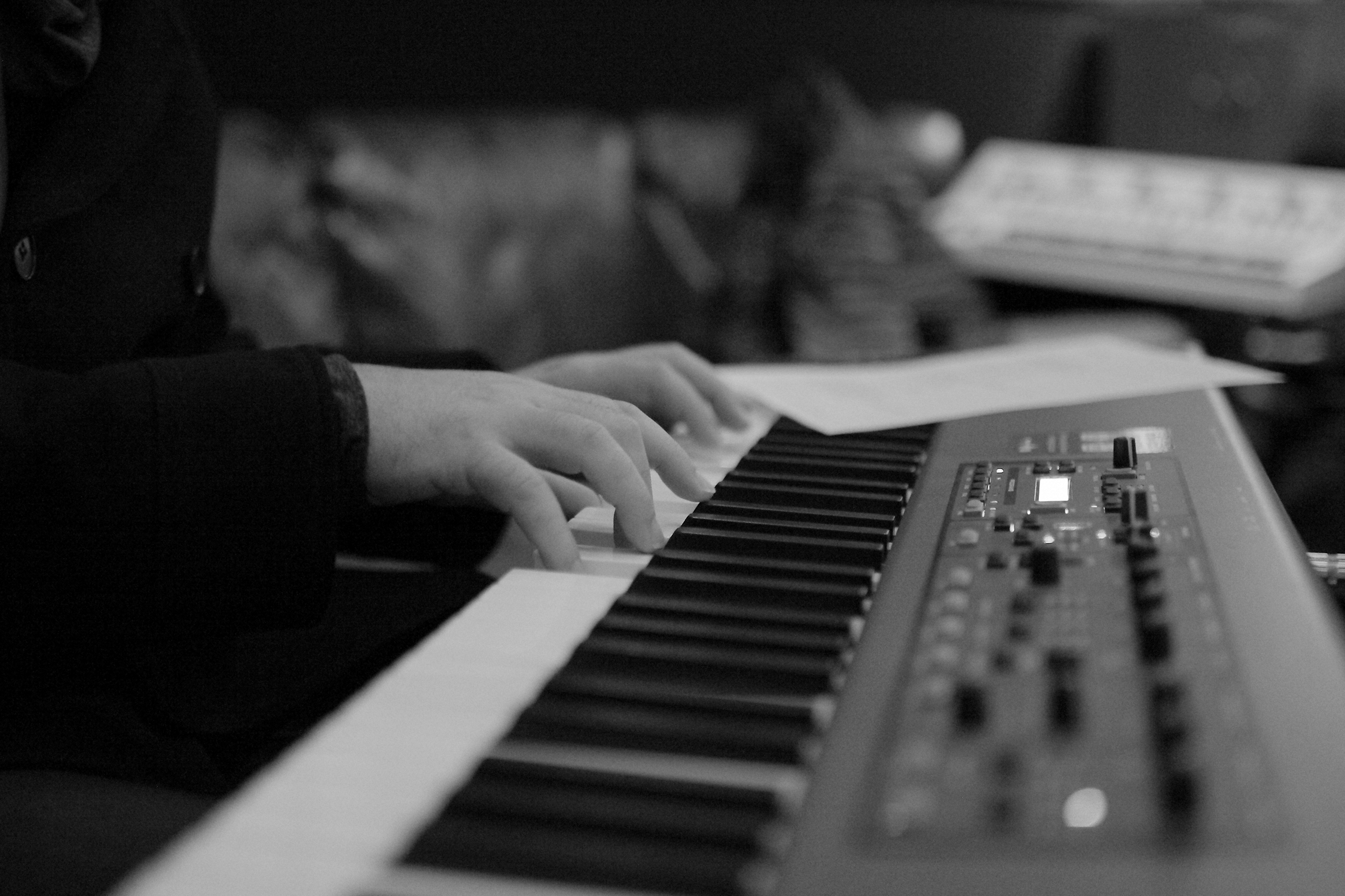 David Willersdorf putting down 'live keyboard' guides during the recording of his 'Fire This Love' album at Sputnik Sounds studios in East Nashville. [Photo Credit: Price Harrison]