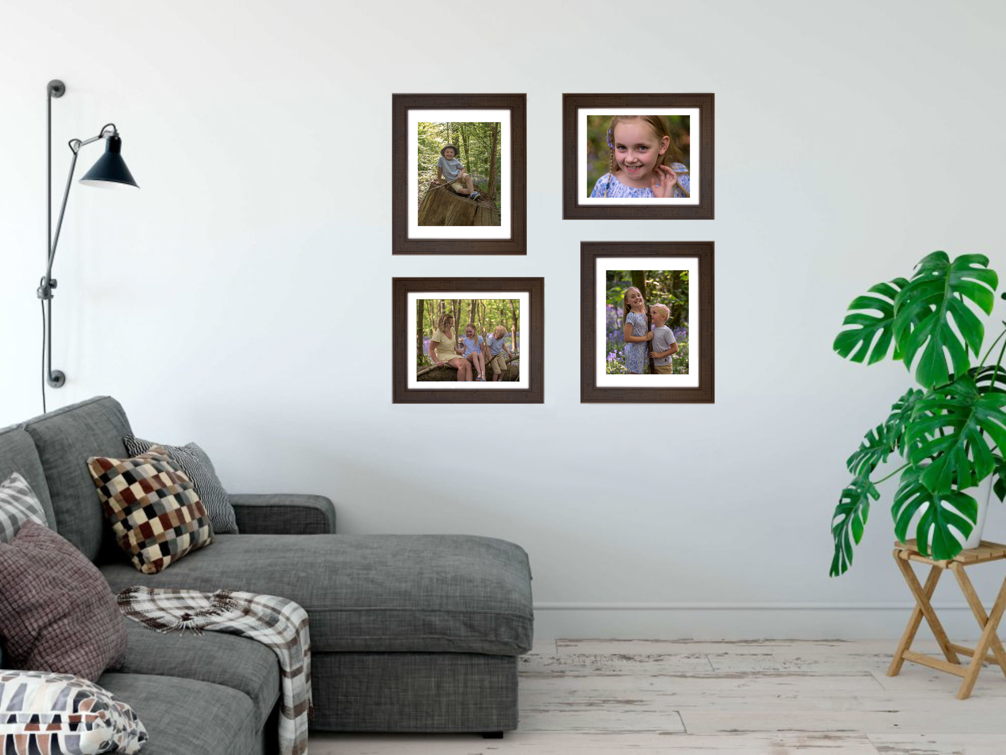 A Quad wall art gallery from one of our relaxed, bluebell family photography sessions.