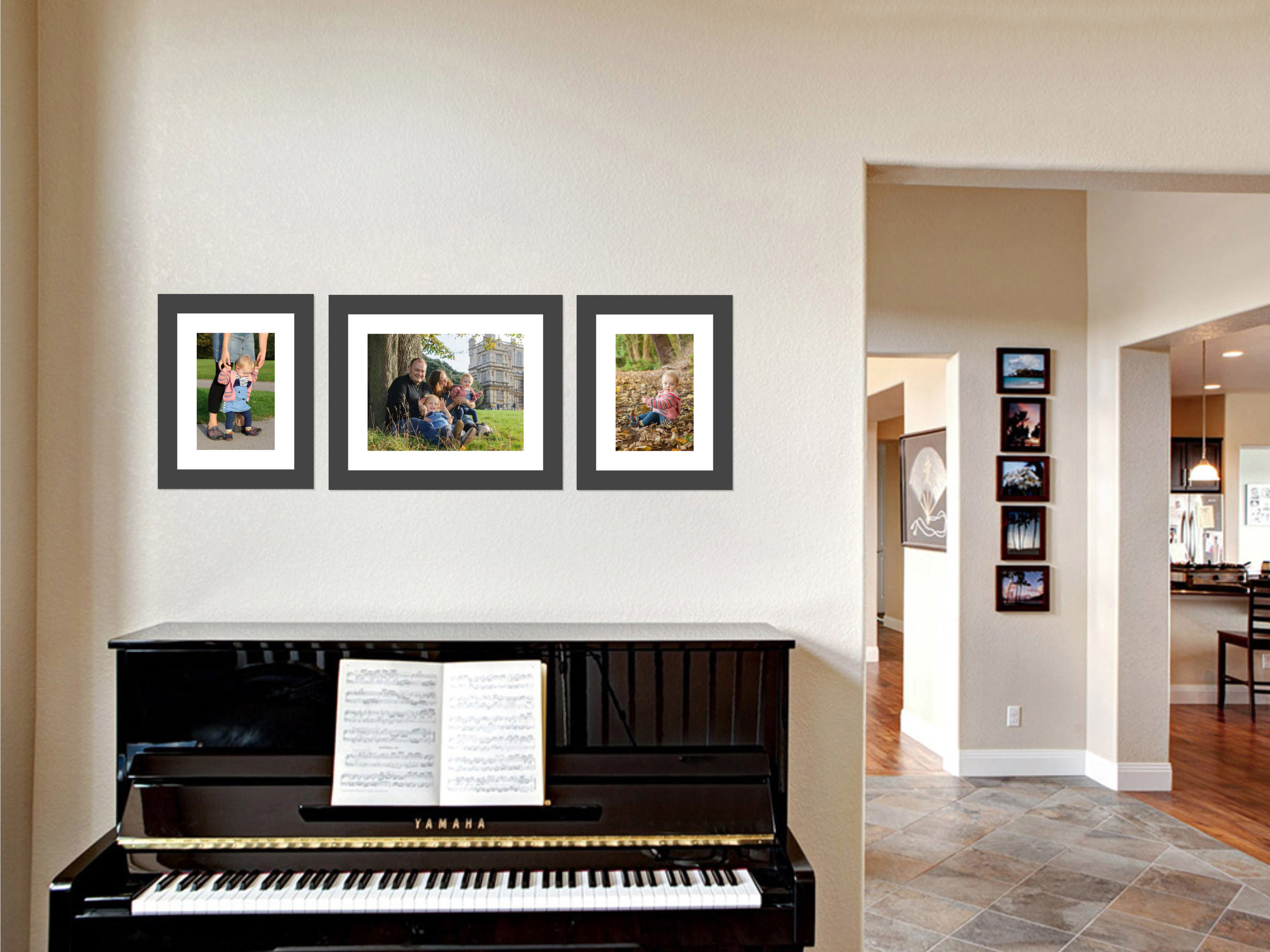 We love to create wall galleries with multiple framed prints. We also have software that can show you what your frame will look like hanging on your wall.
