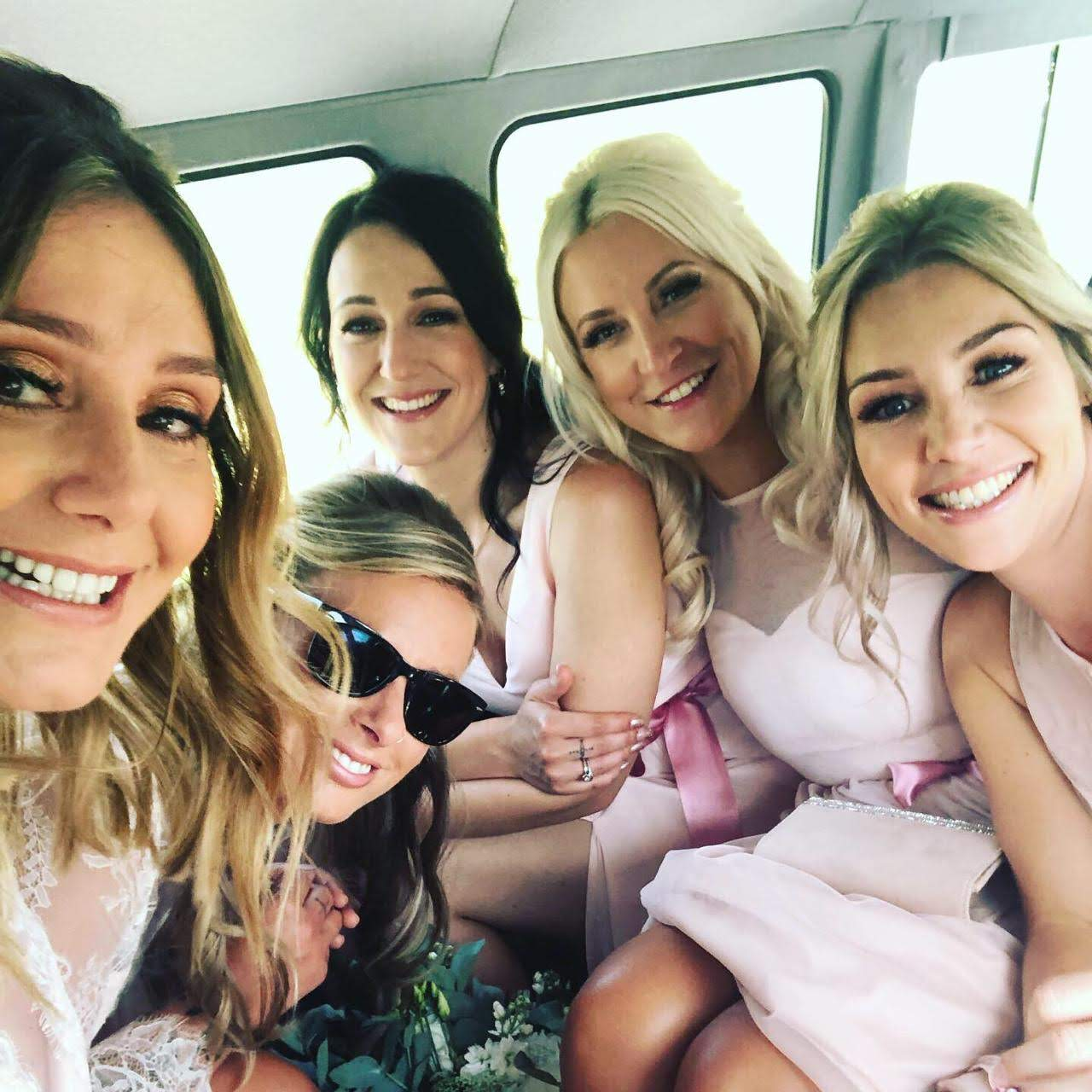 The bridesmaids were having a great time in the campervan!