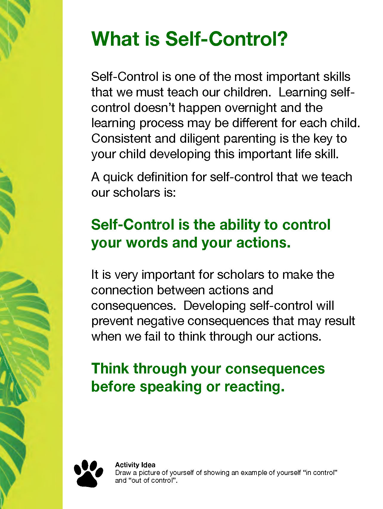 Self Control — Challenge Preparatory Charter School | Far Rockaway, NY