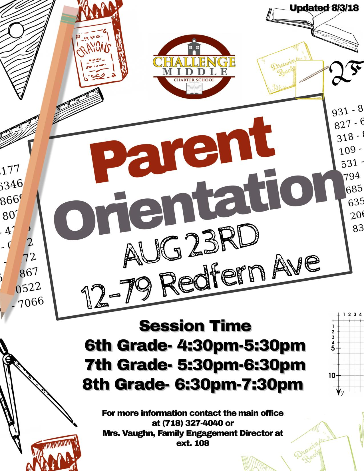 Middle School Parent Orientation Flyer