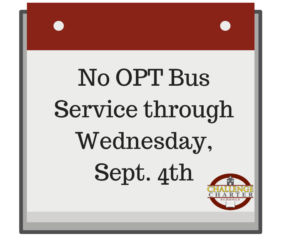 No OPT Bus Service through September 4th.
