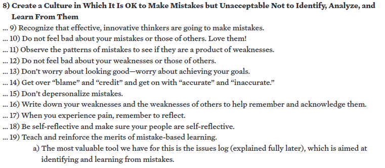 Extract from Dalio's principles. Compare them to Neil Gaiman's  commencement address .