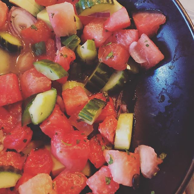 Watermelon, cucumber, avocado & red onion salad @cocotte_rotisserie  surprisingly refreshing salad.  #food  #foodie #eeeeeats #londoneats #instafood #eatingout #salad #healthyfood #healthyeating #yum