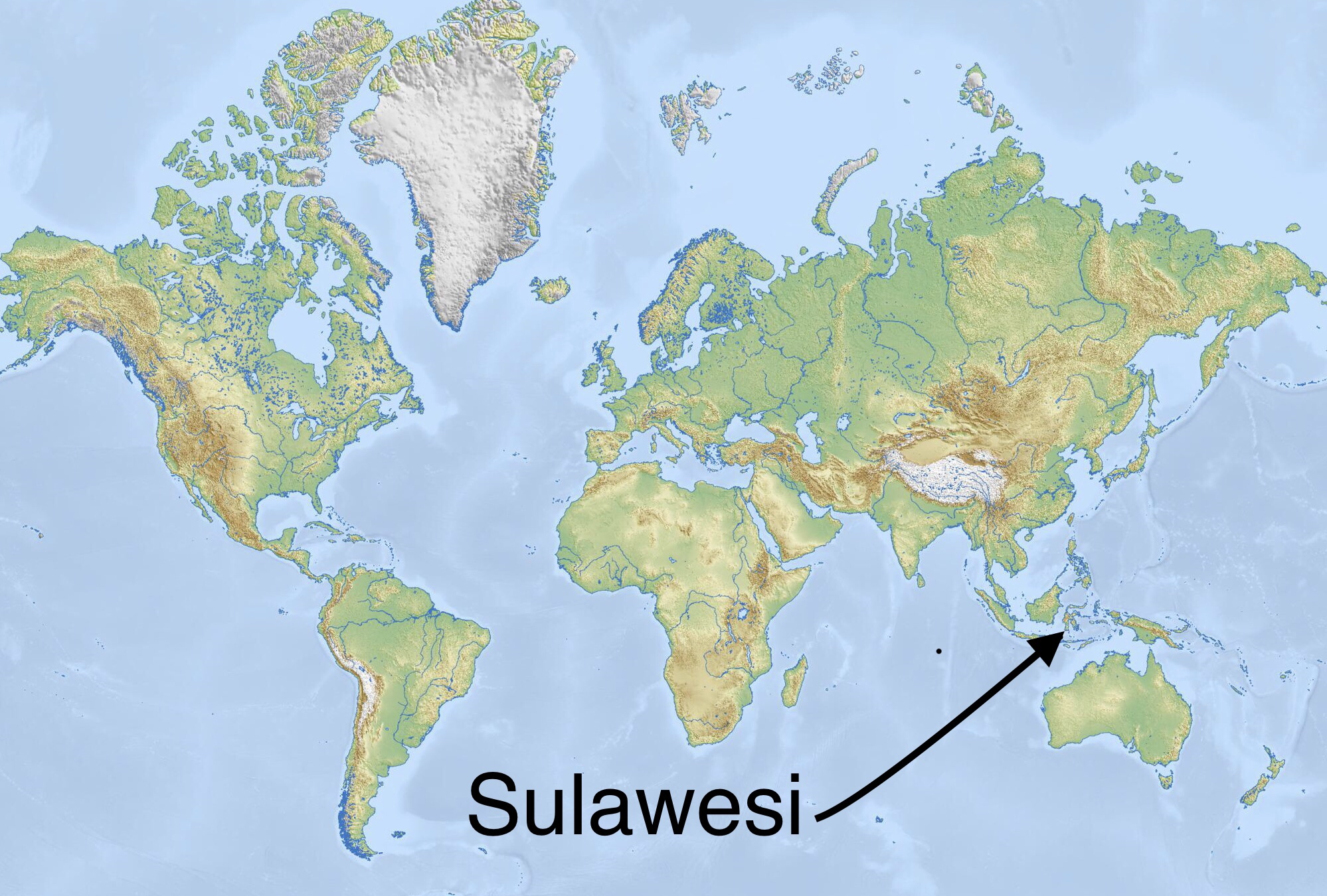 Map showing Sulawesi part of Indonesia. Shapes a little like a starfish.