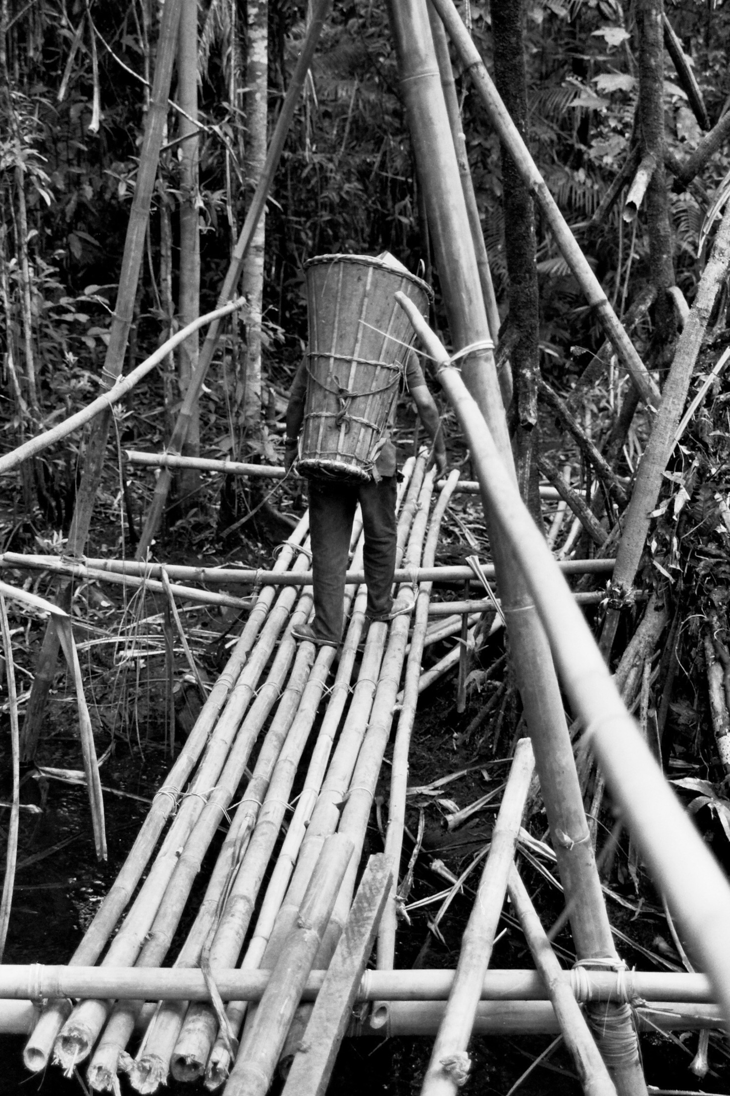 A bamboo crossing. Yes, I was a little scared crossing on it. Note the flip flops of our guide.