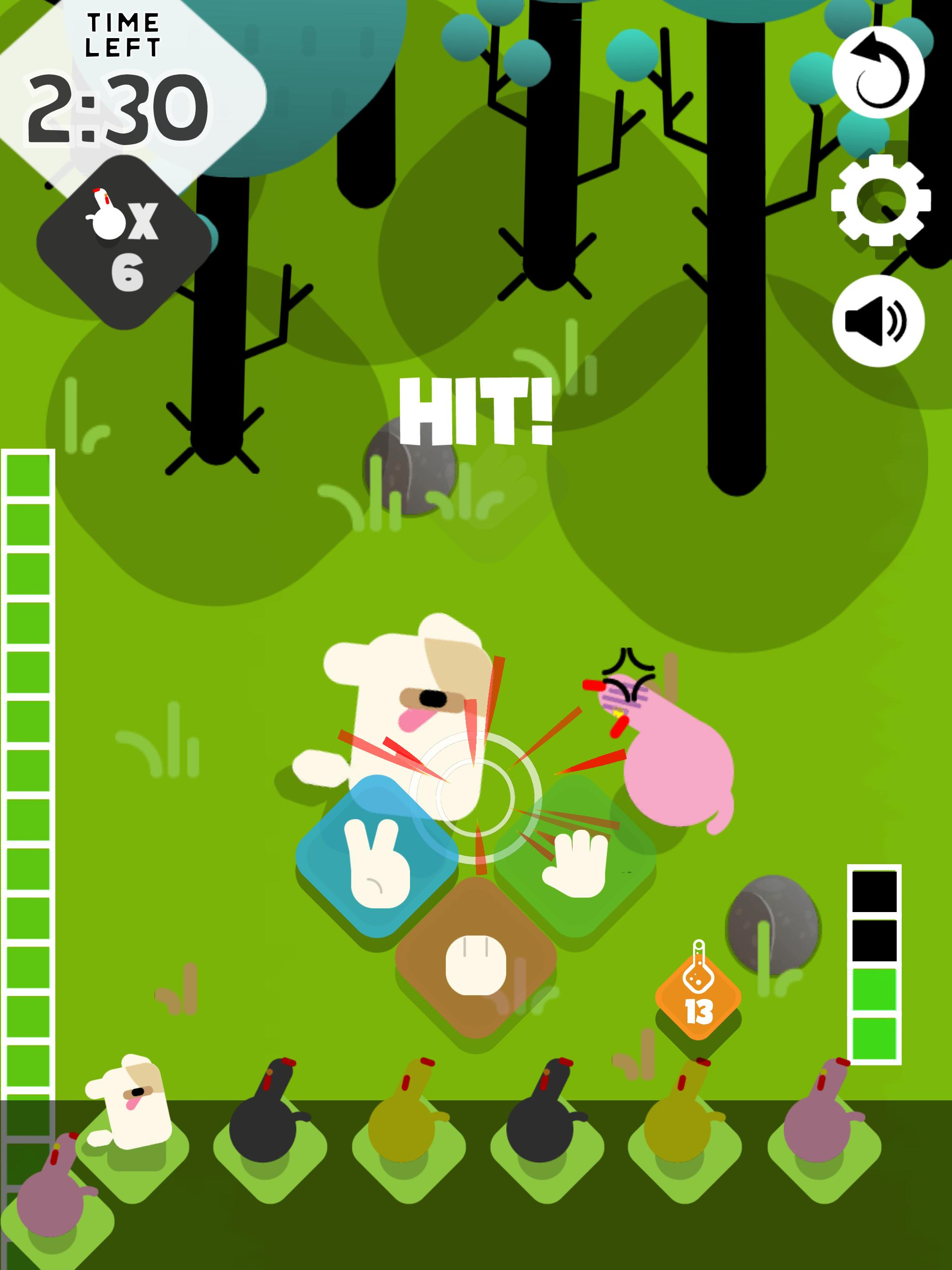 Fight the chickens to collect them or avoid every fight until the end! -
