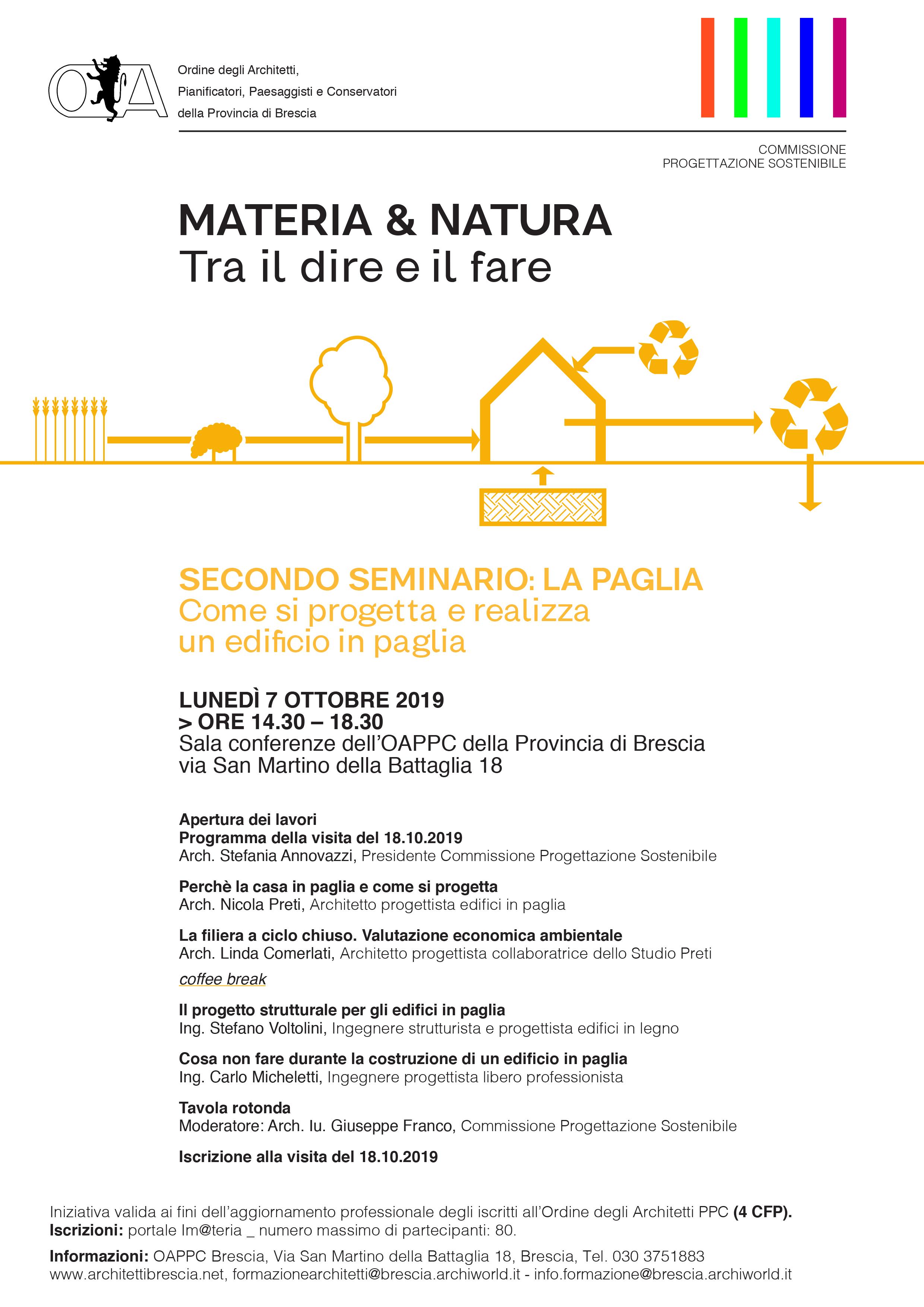 """Il programma della conferenza del 7 ottobre """" Come si progetta e realizza un edificio in paglia"""""""