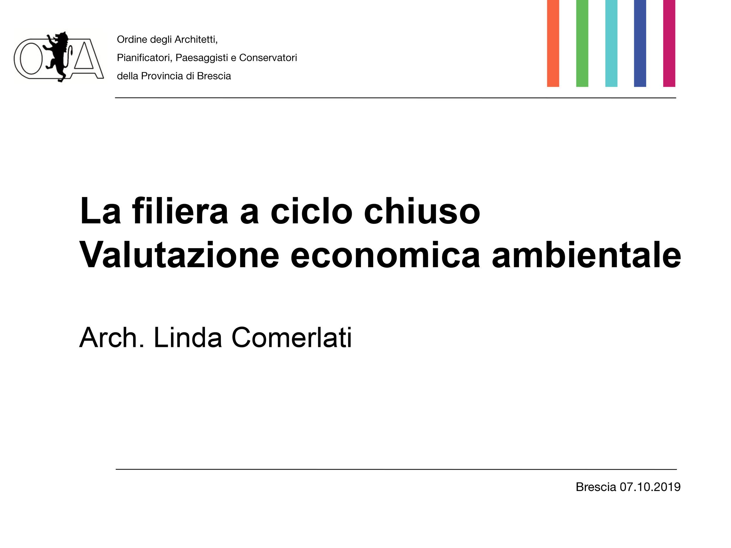 Arch. Linda Comerlati: La filiera a ciclo chiuso. Valutazione economica ambientale