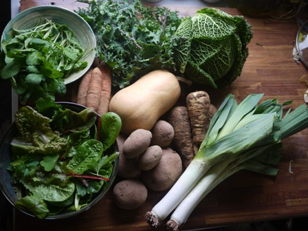 Winter produce - lots of roots & greens