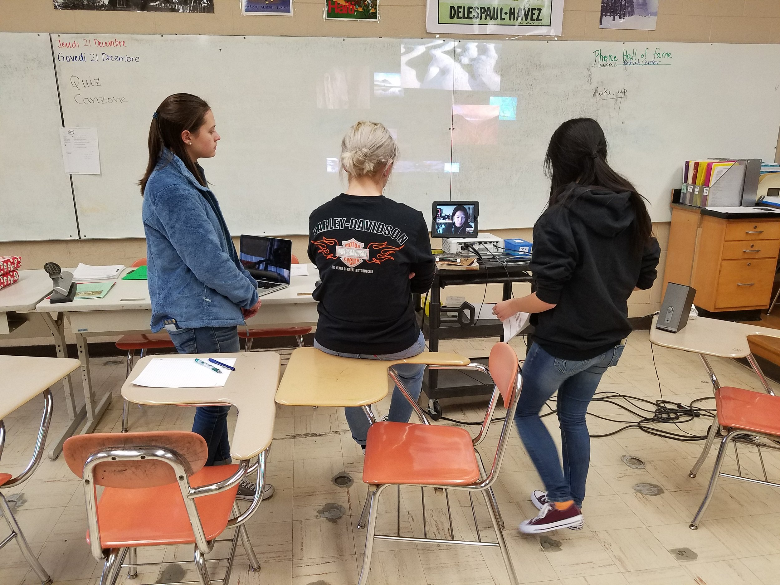 The students skyped with Ms. Tung