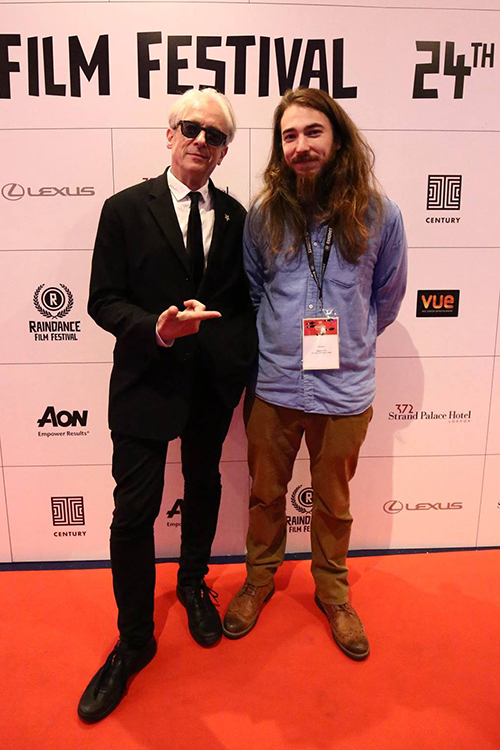 On the red carpet at the Raindance Festival in London with Elliot Grove at the London Premiere of 'Shamans of the Global Village'. A screening I organised along with the panel discussion.