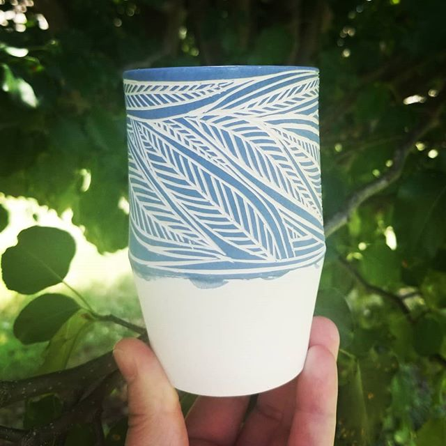 It's glaze day over here in the studio! I have a round of these new cups going through and I can't wait to see what they'll look like when they're finished. 🌿