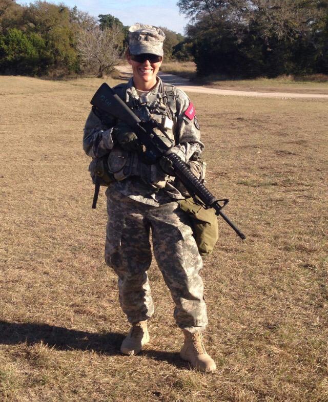 Brandi Cuevas during field training exercises at Camp Bullis, San Antonio, Texas