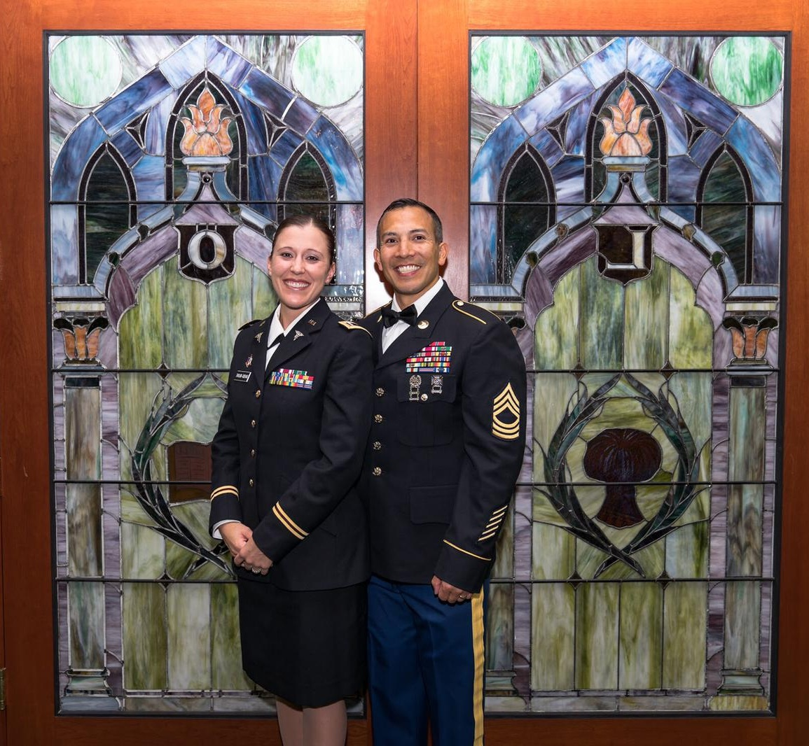 Brandi with her husband SGM Cuevas at a Dining-in for the 8th Medical Brigade at the Grand Lodge of Free and Accepted Masons of the State of New York.