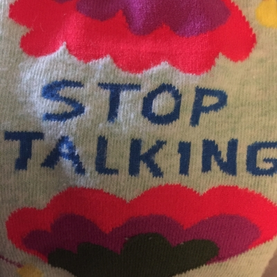 "My ""Stop Talking"" socks have an inspiring story behind them I didn't even know when I bought them (and ""Mr. Perfect"" socks for my husband.) Click the image to learn more. (Go, John!)"