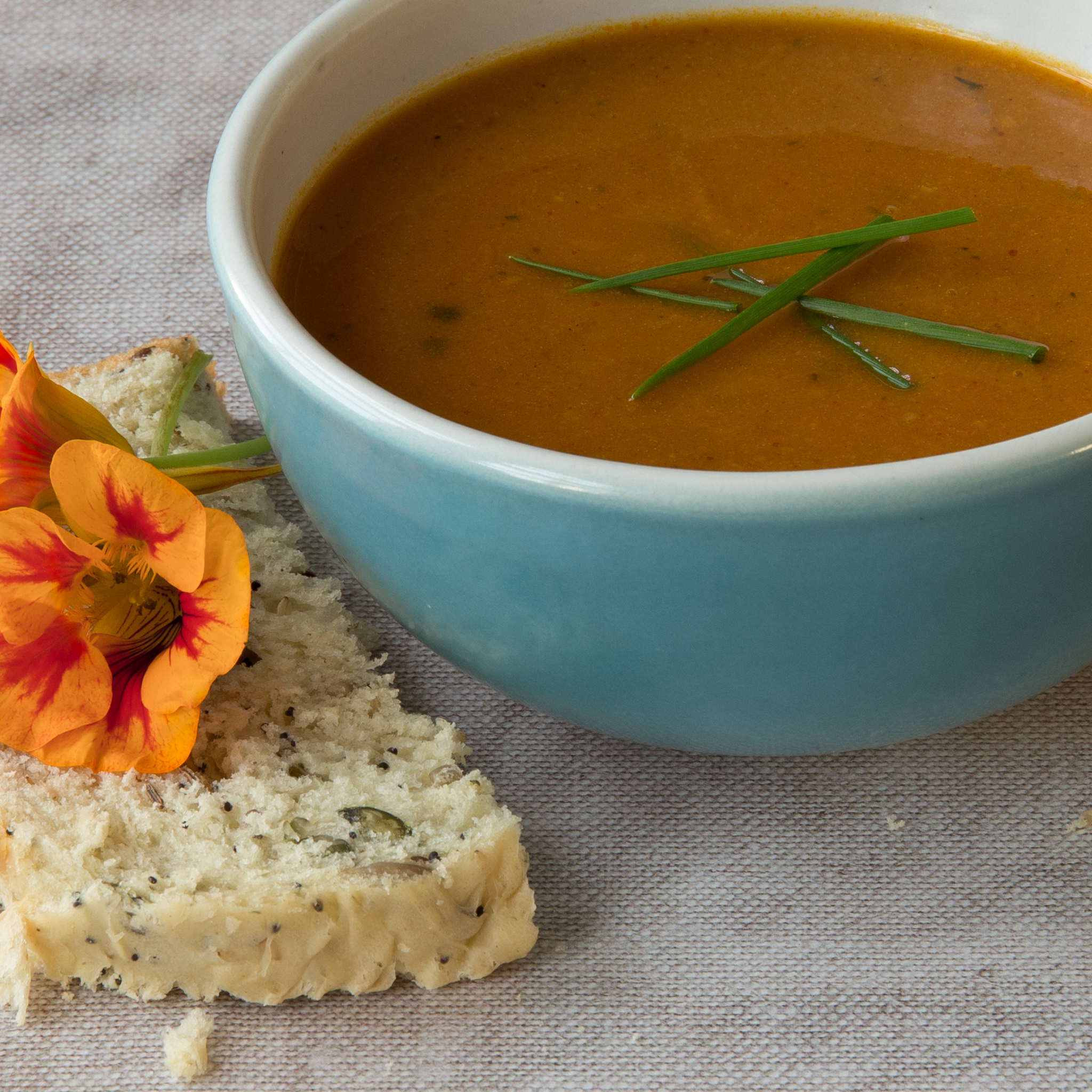 Home made soup and seeded bread