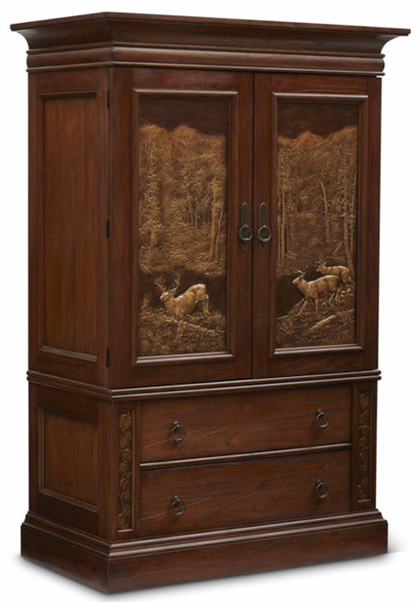 "Aspen Armoire with Hidden Gun Cabinet  Item # DI-167403 (G / LB / DB) Dimensions: 52 x 28.375 x 79-3/8""H"