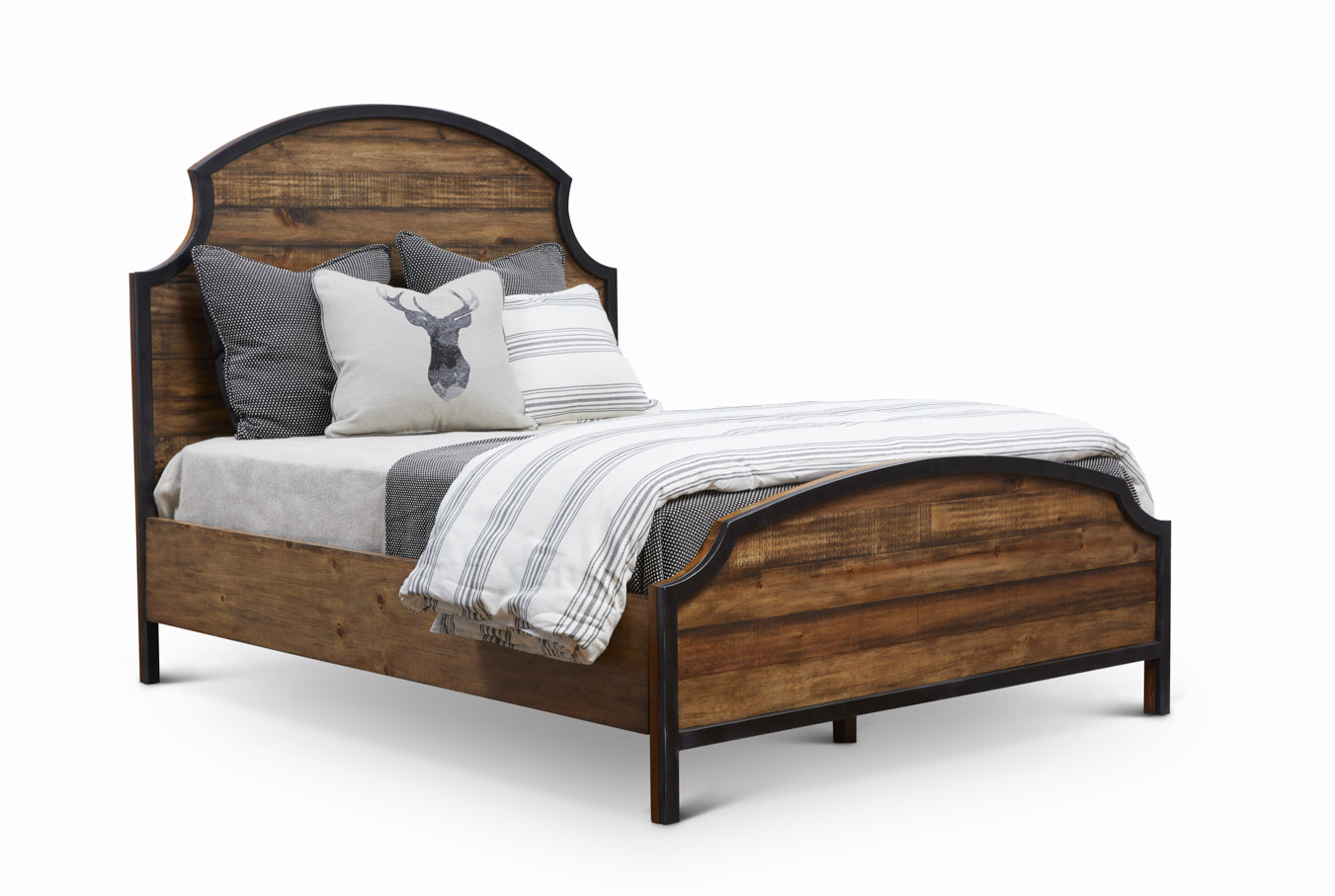 "Urban Frontier King Bed   King Headboard King Item # DI-188101HB Dimensions: 80.5""W x 2""D x 62""H  King Footboard Item # DI-188101FB Dimensions: 80.5""W x 2""D x 27.25""H  King Side Rails Item # DI-188101SR Dimensions: 82""L x 2""T x 11""H  Overall Assembled King Dimensions: 80.375""W x 86""D x 62""H"
