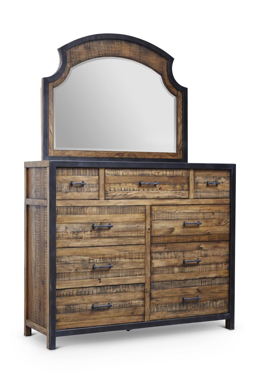 "Urban Frontier 9 Drawer Dresser  Item # DI-188105 Dimensions: 56""W x 19""D x 46.75""H   Urban Frontier Mirror for Dresser  Item # DI-188106 Dimensions: 46""W x 1.76""D x 36.5""H"