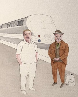 Porkington and friend, ready to embark.