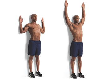 Wall Angels : Stand 6 inches from the wall, lean your tailbone, upper back and head against the wall. Tighten your abs (you don't have to flatten your back to the wall, but bring the lower ribs onto the wall). Bring elbows and wrists to the wall and slight them up and down, keeping both elbows and wrists on the wall- and not letting your back arch off the wall. This helps loosen the chest muscles, and strengthen the deep neck flexors, rhomboids, and core.