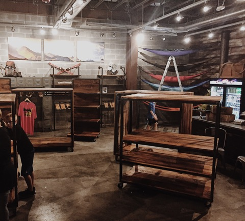 Fritz's Adventure - When the opportunity arose for Revival to create retail fixtures for Fritz's Adventure's giftshop, we knew that these sturdy rustic-meets-modern pieces would compliment their out-door themed merchandise.
