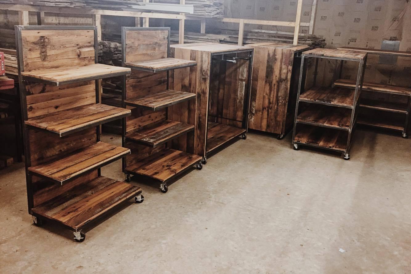 rustic retail wood shelves