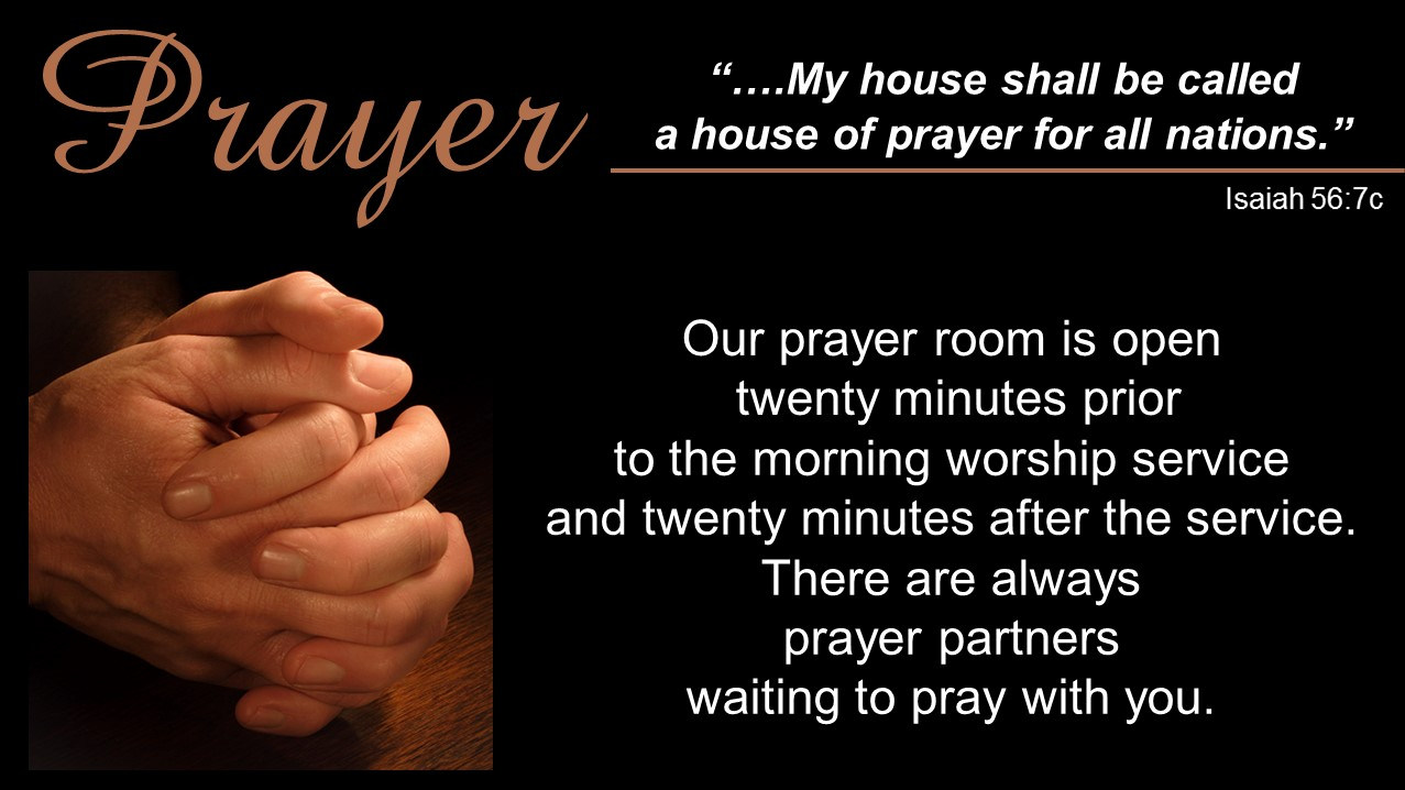 Prayer Ministry - We are encouraged to come together in prayer and give prayer a higher priority in the life and ministry of the church. There are opportunities available to come together to pray:More