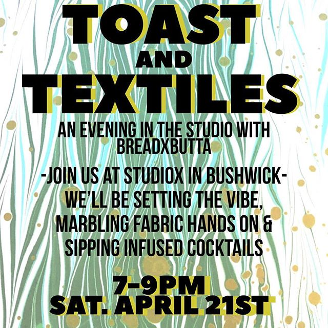 WOW friends, we have another rad workshop coming up this month! please join BreadxButta on April 21st for a 420 + art filled evening🍾🌱 Learn the exquisite art of marbling while sipping and munching some infused goodness. We're going to be teaching a little history on marbling, guests will have lots of hands-on time marbling paper and fabric while we sip infused cocktails, listen to great tunes & hang out with awesome people. Space is limited in this session so RSVP - link in bio!