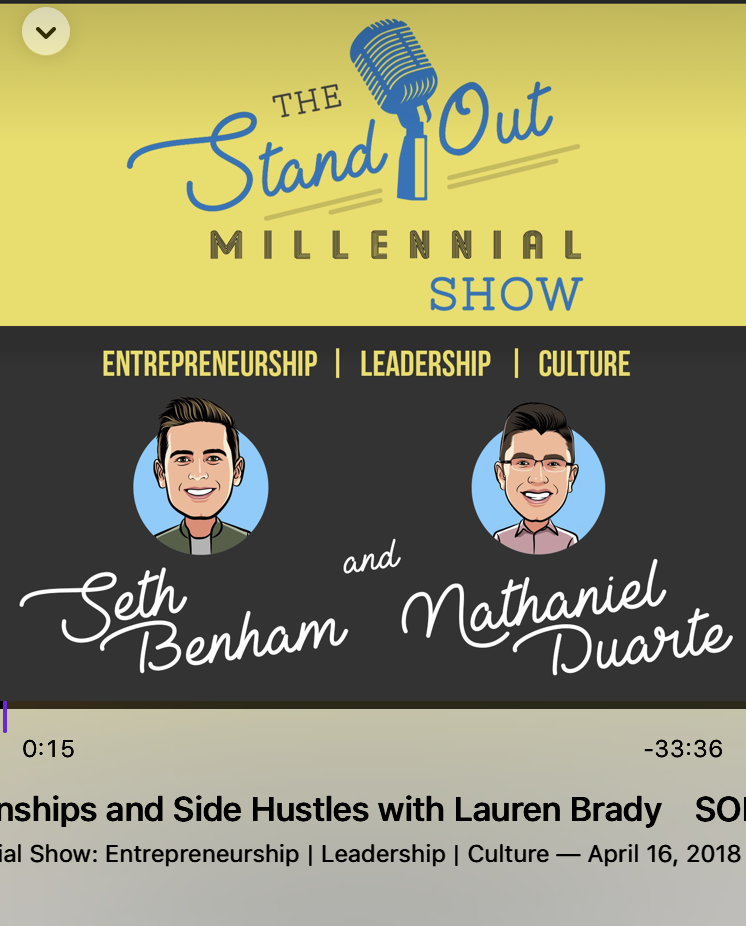 Interview for The Stand Out Millennial Show - Talked about internships, side hustles and my unconventional words of advice for young professionals.