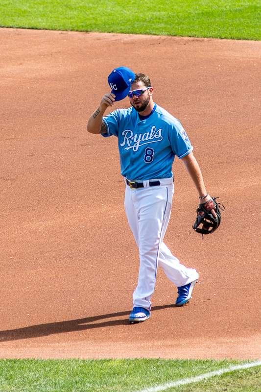 """Mike Moustakas is my all time favorite Royal. I love everything about his game. His defense... His hitting... His attitude... His hustle... I wasn't surprised at all when he was awarded """"Comeback Player of the Year"""" for 2017. In the top of the first, he turned to the stands and tipped his hat, knowing that this would probably be his last game as a Royal. I love how I was in just the right place to make it appear he was looking right at me!"""
