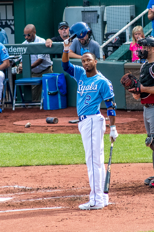 In the bottom of the second inning, Alcides Escobar came to bat for the first time. Just like the other players playing their final Royals game, he took the time to tip his helmet to the crowd. I love his defense, but his hitting could use some work. In this at bat he would strike out swinging.