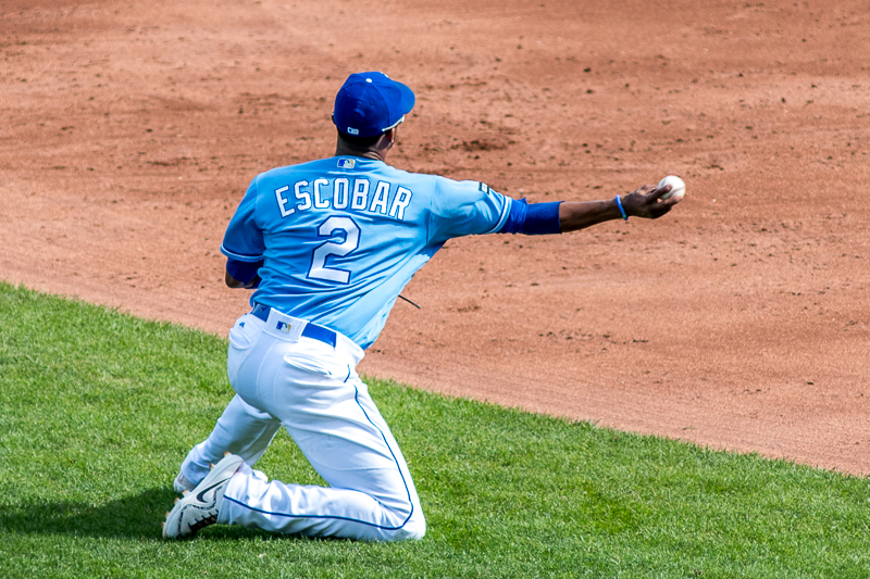 In the top of the third inning, Escobar flashed some of his amazing defense. After diving to his right to field a ground ball, he throws to Whit Merrifield at second.
