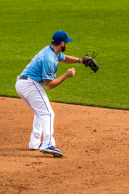 In the top of the fourth inning, I got to see a play that I will remember forever. It's likely that it will never happen again. The first half of the play was Mike Moustakas fielding a ground ball from J.D. Martinez...