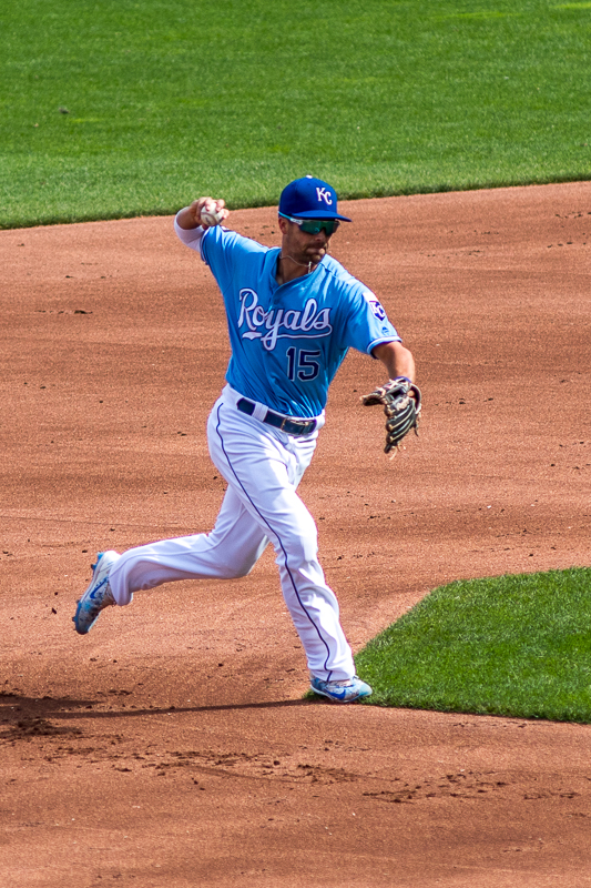 After Whit Merrifield recieved the ball from Alcides Escobar in the third inning, he executes a perfect pickle play. Whit is a fun player to watch and is always hustling.