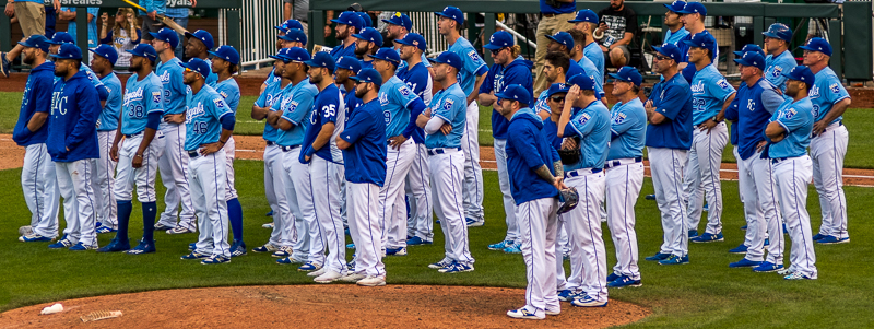 He're is the entire team watching the tribute to Hosmer, Moustakas, Cain, and Escobar. It was amazing. Pictures and videos of them from the first moment they got to the majors, to the World Series, and even to this year. What a moment.