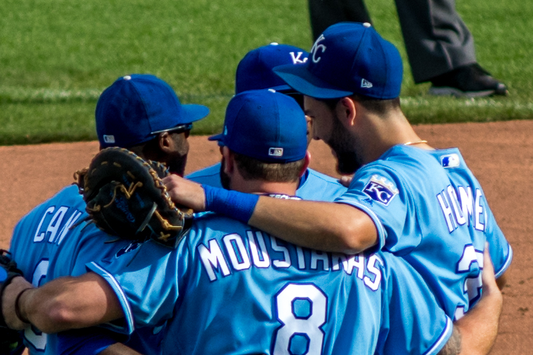With one out in the top of the fifth inning came the moment we all knew was coming, but no one wanted to see. Ned Yost made the dreaded defensive substitution for the four, soon to be free agents. There wasn't a dry eye in the stadium as the met near second base, and hugged each other. Just looking at this image and typing these words have brought back all the tears to this Royals fan.
