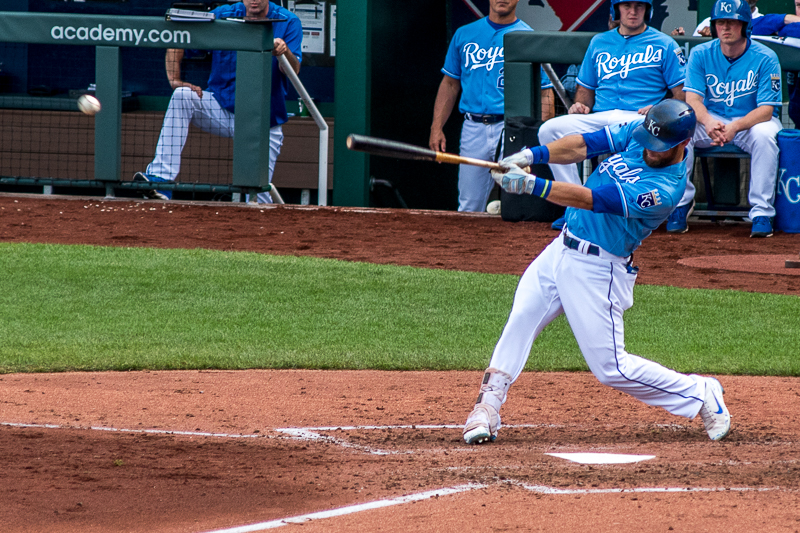 I the bottom of the second inning, Alex Gordon hit this soft liner to first base. I love his defense, but wish that his offense could be more consistent.