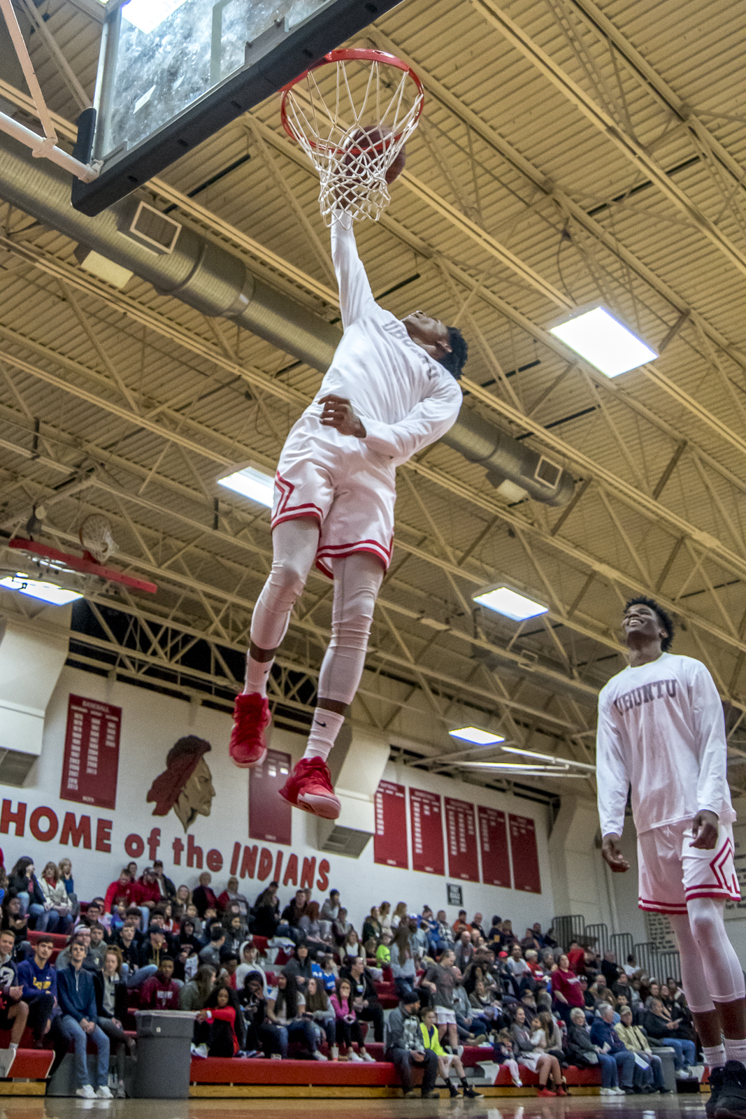 During halftime of the girls game, the boys team came out and put on a real show. All of the fancy dunking they could do amazes me. This show, in itself is worth the admission fee!