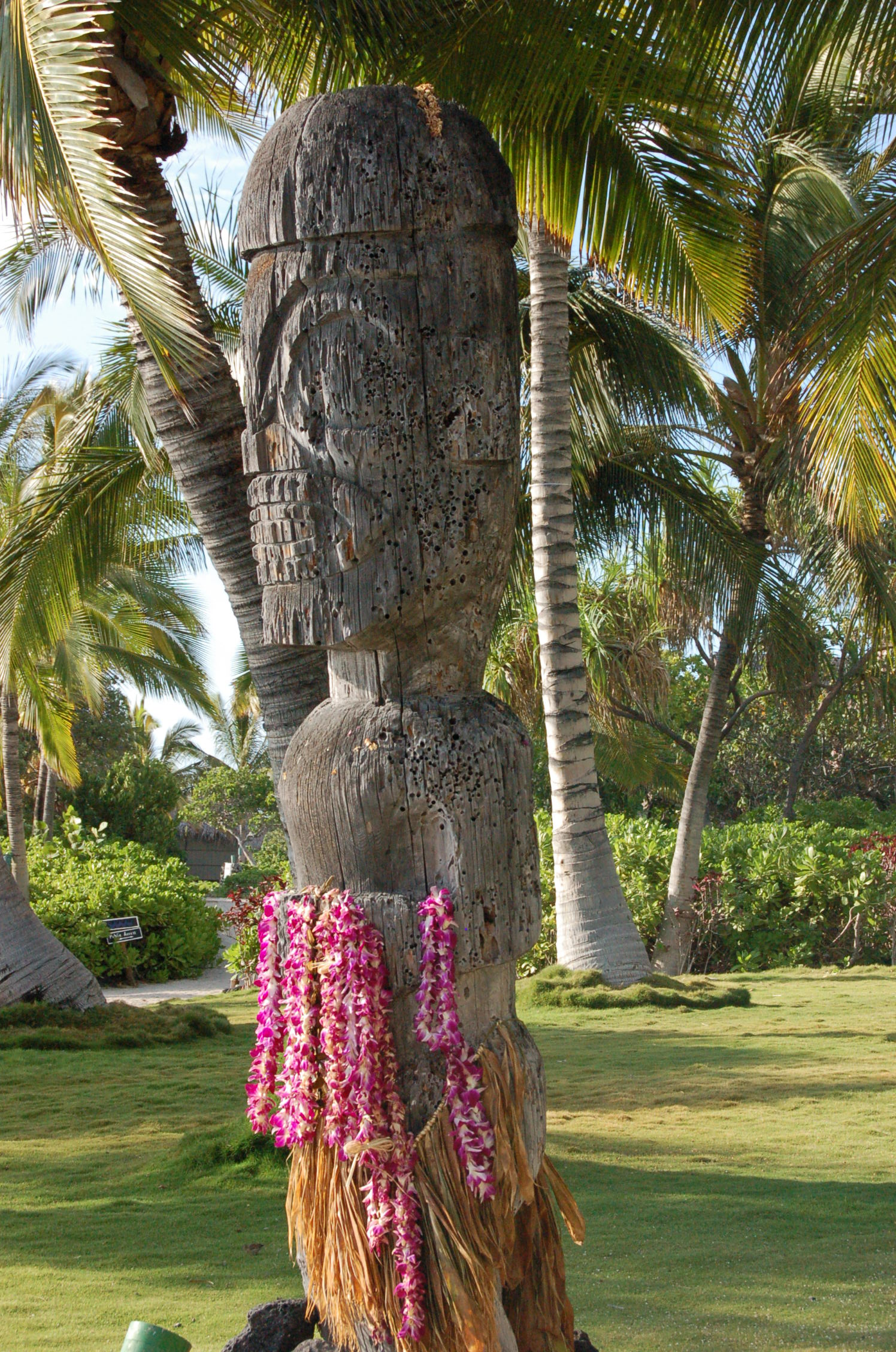 On our last night at Kona Village, we hung our leis this statue.
