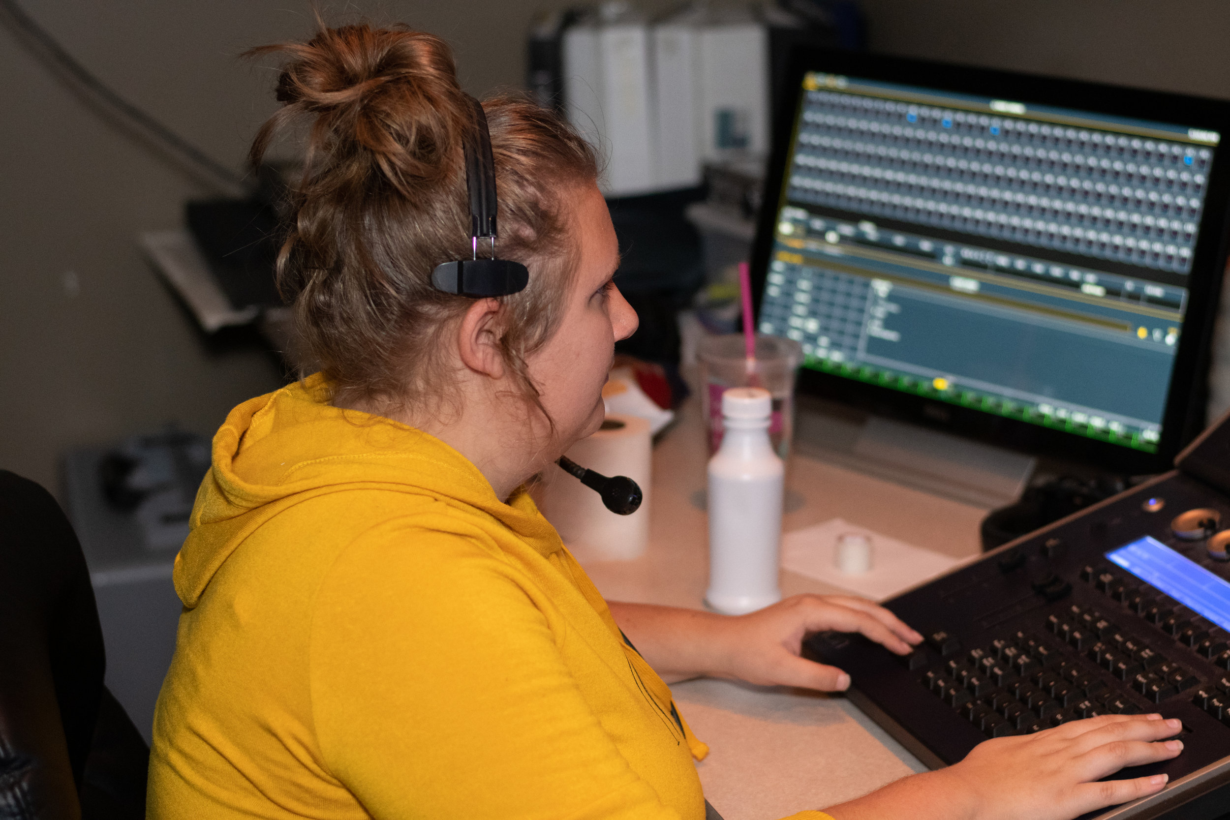 My daughter has plans to go to college for Theater Tech.  She does such an amazing job being responsible and working to make sure the show goes on as planned.  Here she is running the light board.