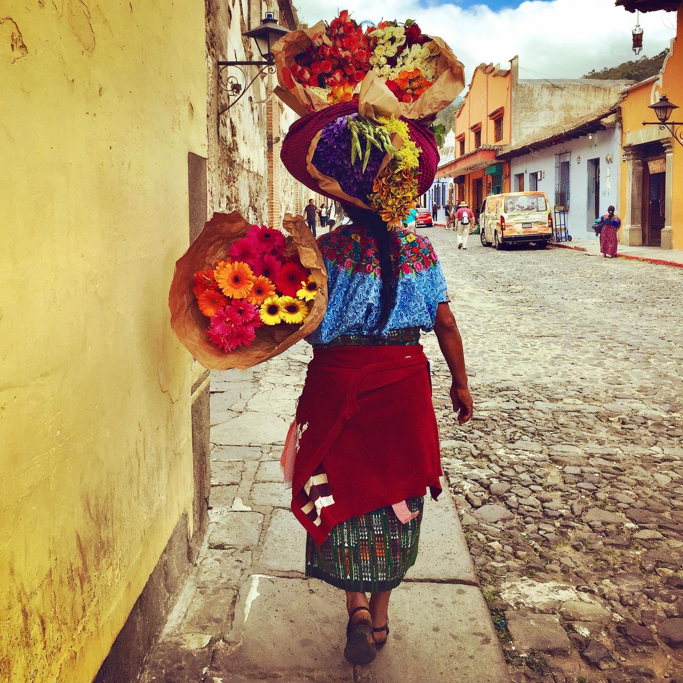 Mayan Community Glamping Trek - Mayan Woman Streets of Antigua.jpg