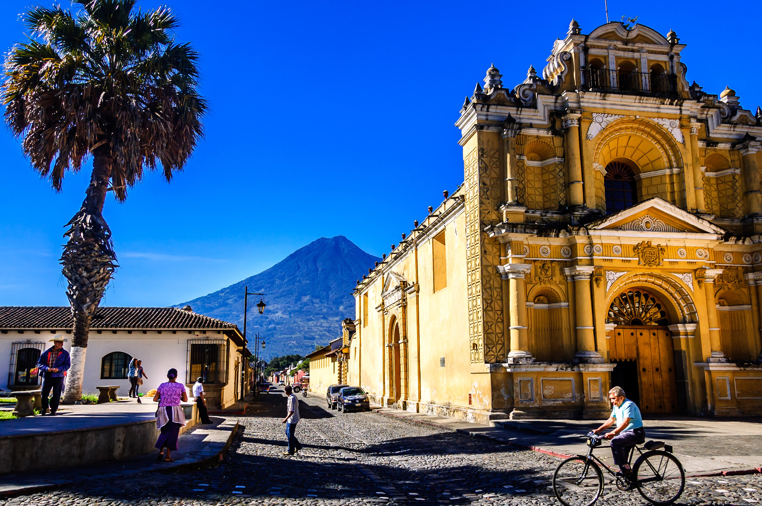 Walking the vibrant colonial streets of Antigua.