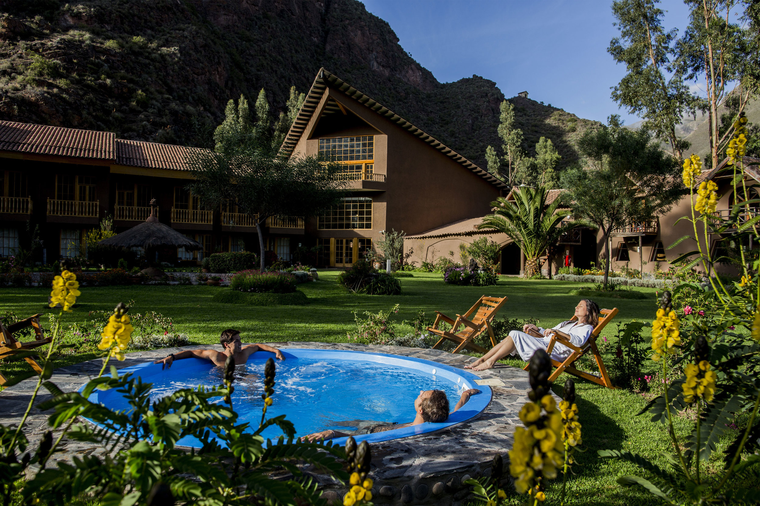 Enjoy the warm waters of the outdoor hot tub each night at the lodges.   Meals: B | L | D