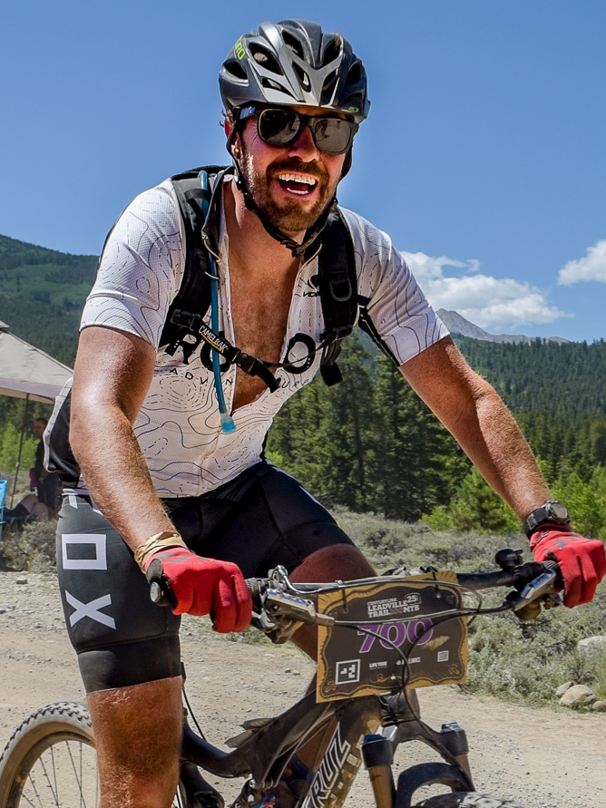 At mile 60 of the    Leadville 100    mountain bike race…all smiles!