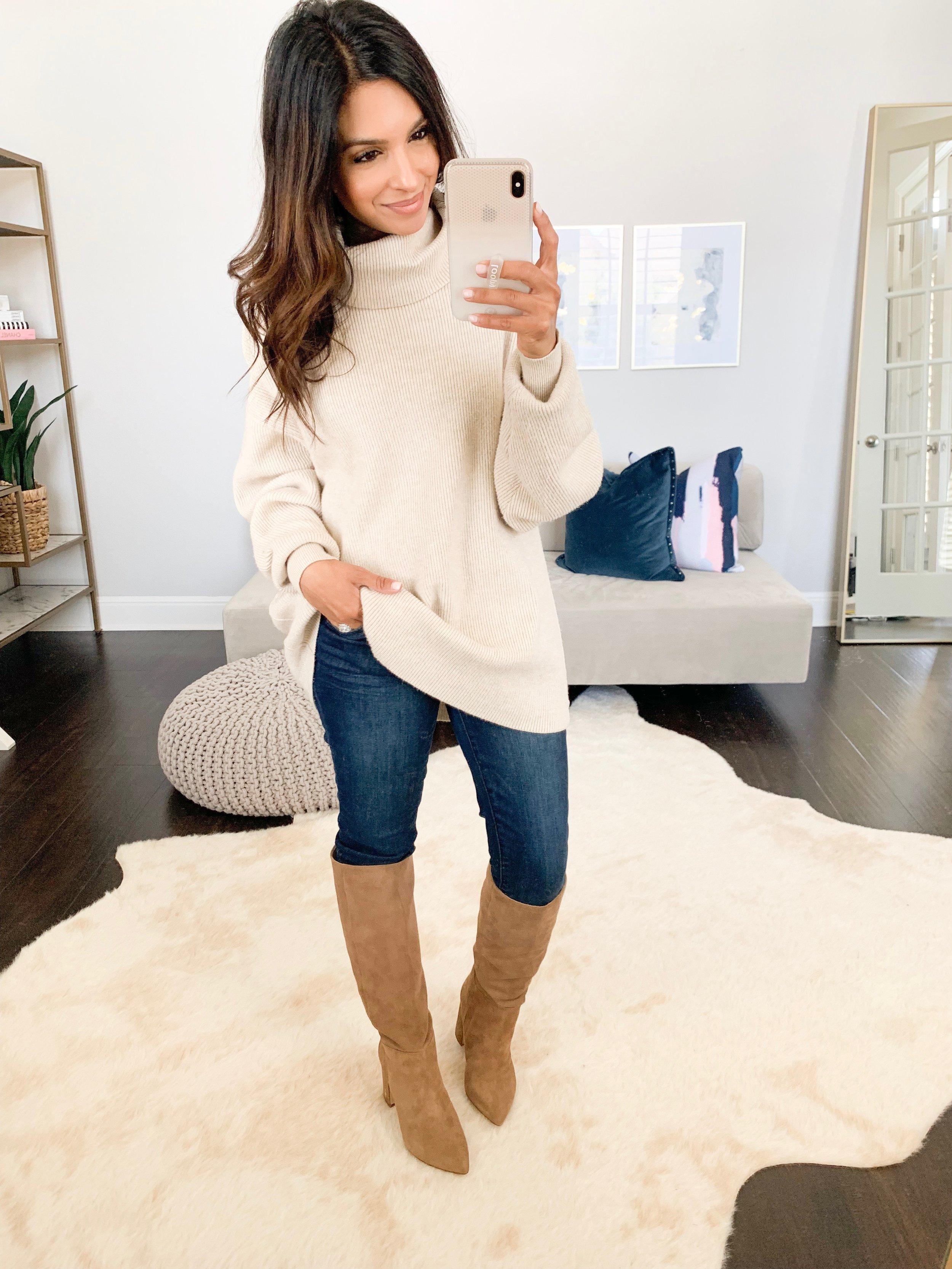 Tunic Sweater (XS)    //    Jeans (TTS)    //    Boots (TTS)